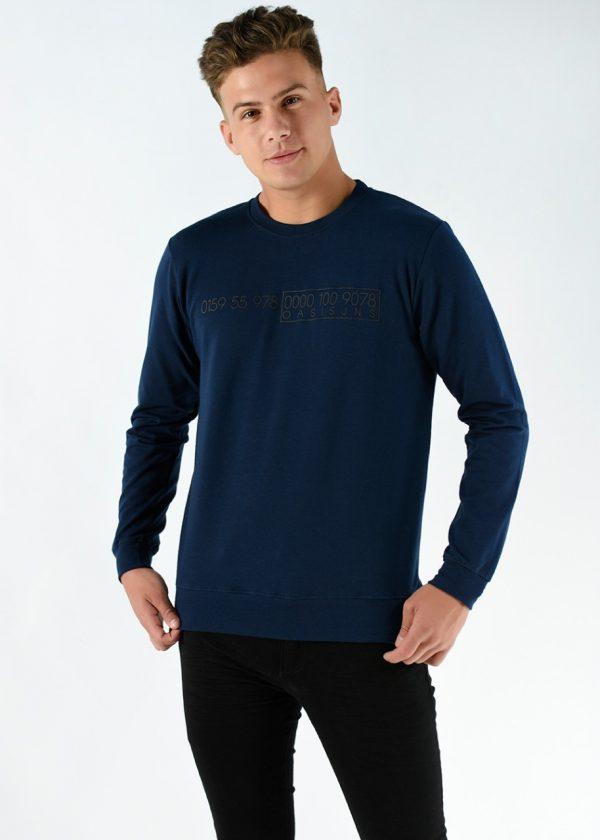 Buzo rustico mangas largas, en color azul con una estampa, en talles S,M,L,XL,XXL. Adelanto de la nueva temporada de invierno 2021. Cuidados: lavar con agua fría.